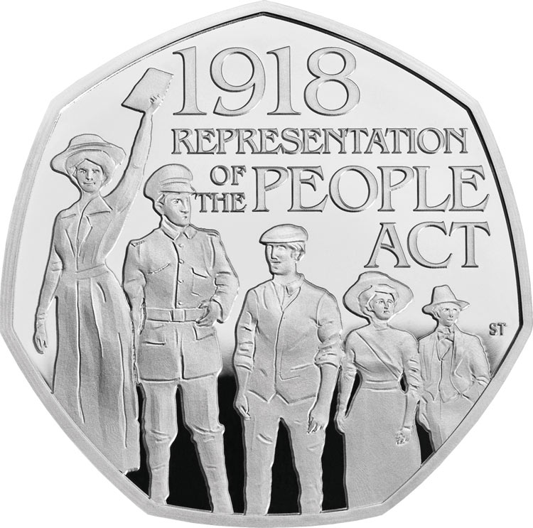 Image of 50 pence coin - 100th Anniversary of the Representation of the People Act | United Kingdom 2018.  The Copper–Nickel (CuNi) coin is of Proof, BU quality.