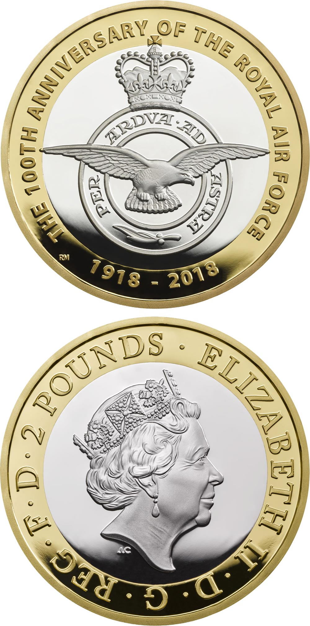Image of 2 pounds coin - RAF Centenary | United Kingdom 2018.  The Bimetal: CuNi, nordic gold coin is of Proof, BU quality.