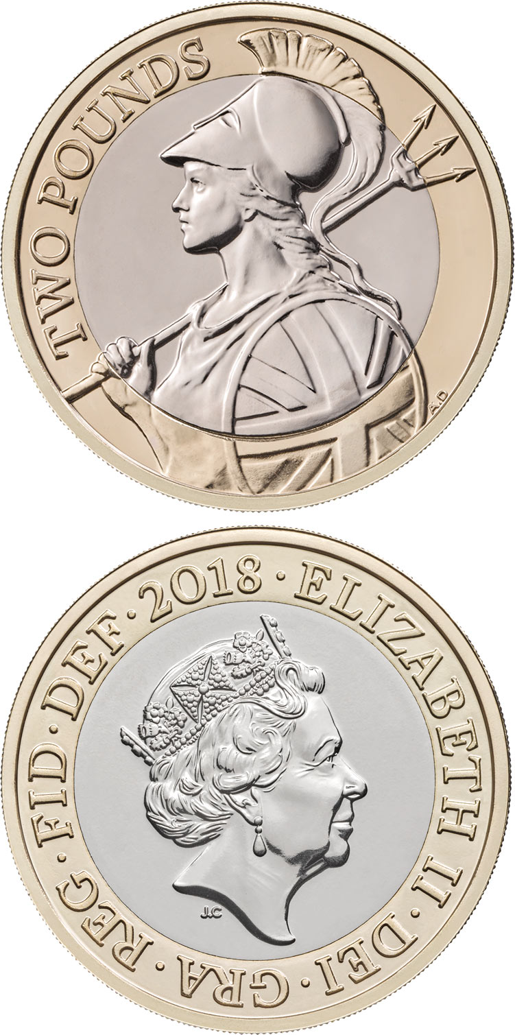 Image of 2 pounds coin - Antony Dufort's Britannia | United Kingdom 2018.  The Bimetal: CuNi, nordic gold coin is of BU quality.