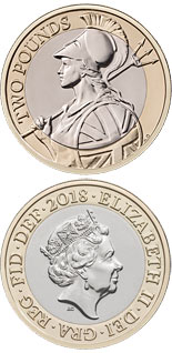 2 pound coin Antony Dufort's Britannia | United Kingdom 2018