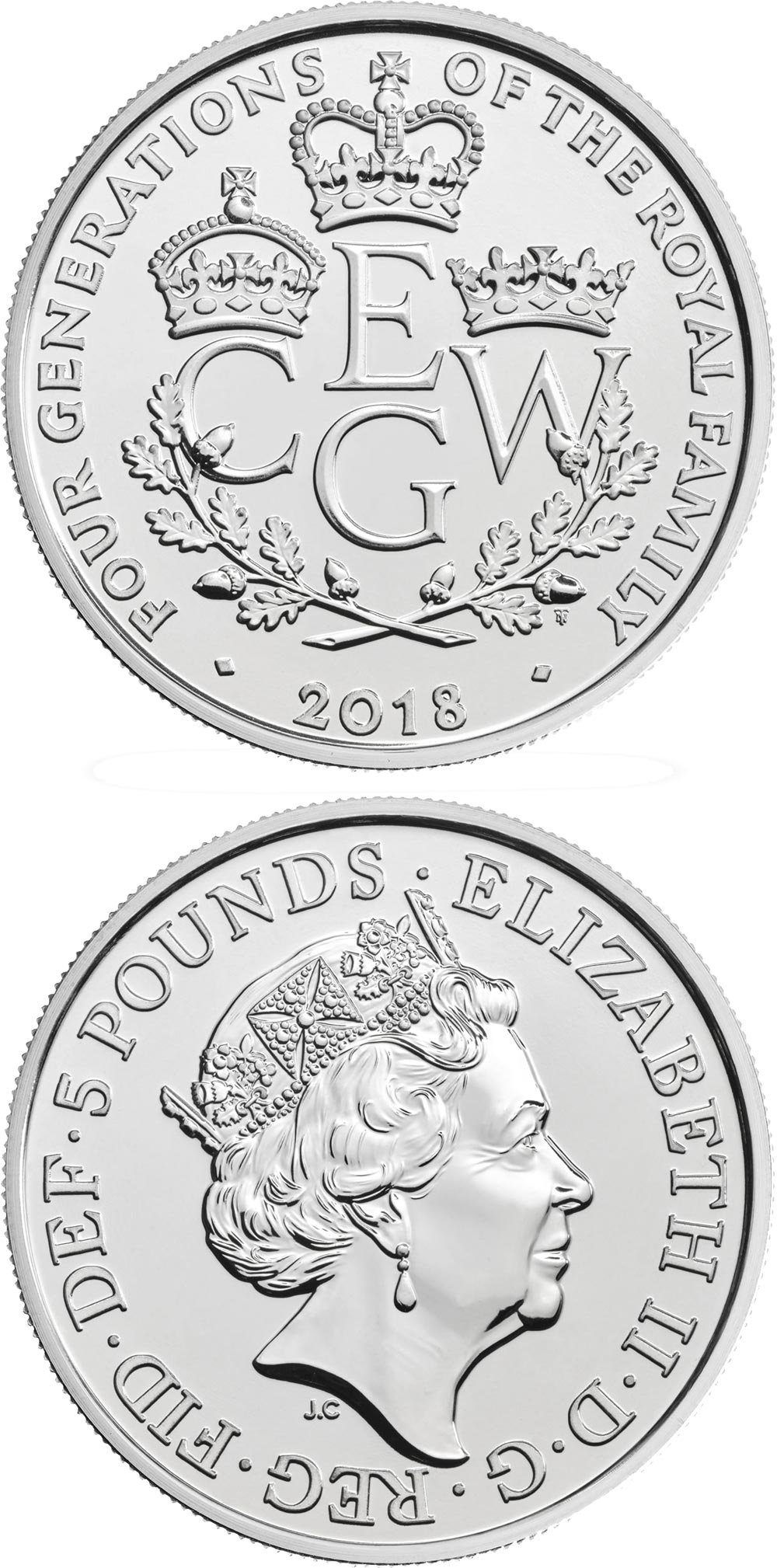 Image of 5 pounds coin - The Four Generations of Royalty | United Kingdom 2018.  The Copper–Nickel (CuNi) coin is of BU quality.