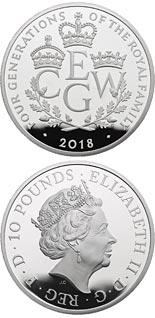10 pound coin The Four Generations of Royalty | United Kingdom 2018