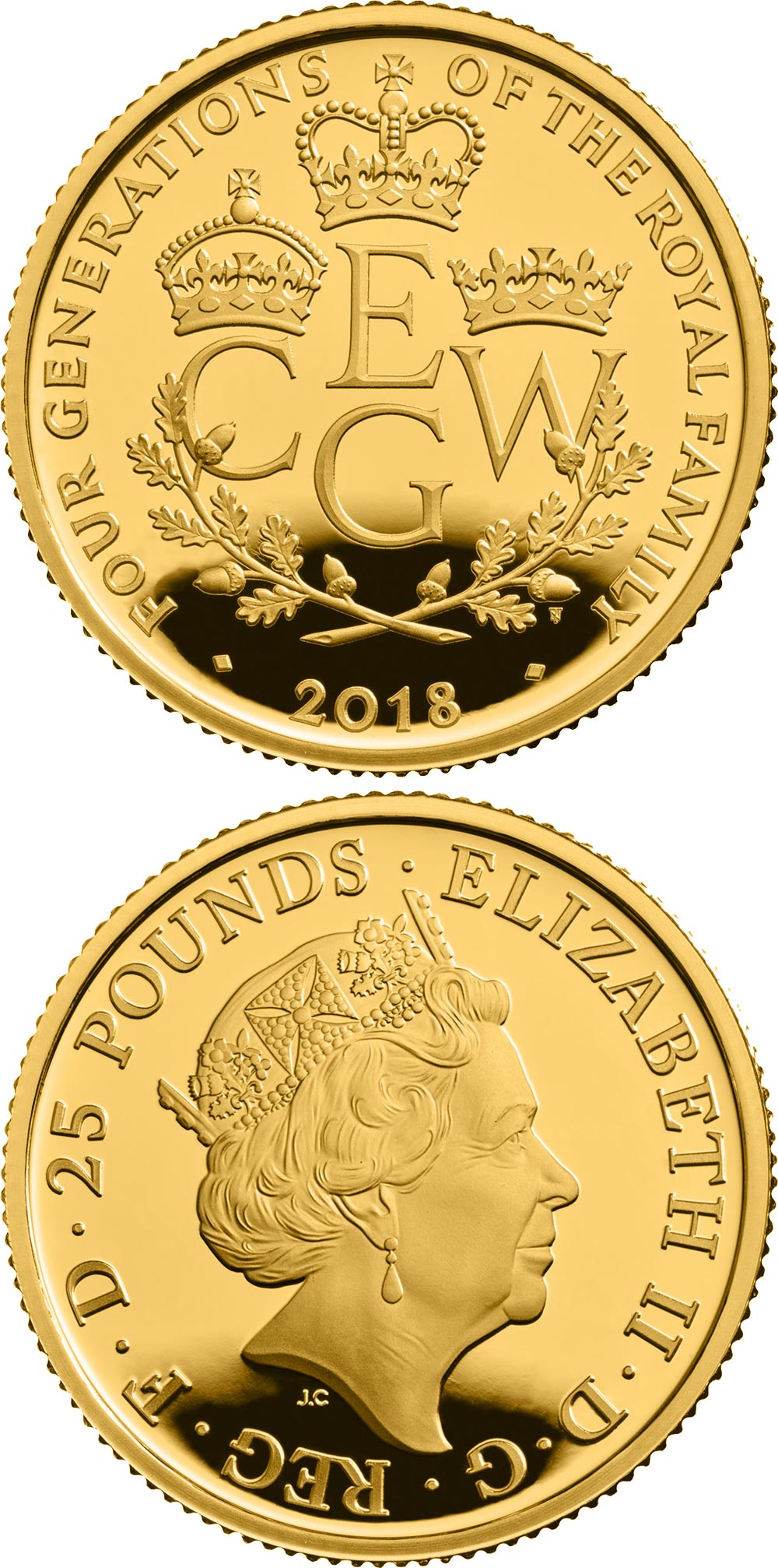 Image of 25 pounds coin - The Four Generations of Royalty | United Kingdom 2018.  The Gold coin is of Proof quality.