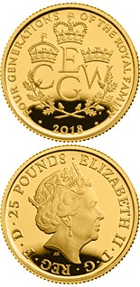 25 pound coin The Four Generations of Royalty | United Kingdom 2018
