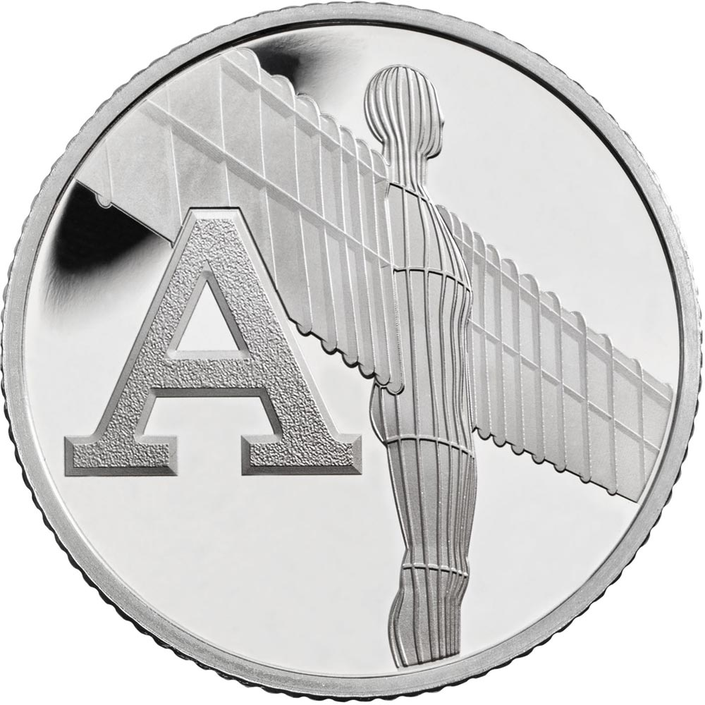 Image of 10 pences coin - A - Angel of the North | United Kingdom 2018.  The Silver coin is of Proof, UNC quality.