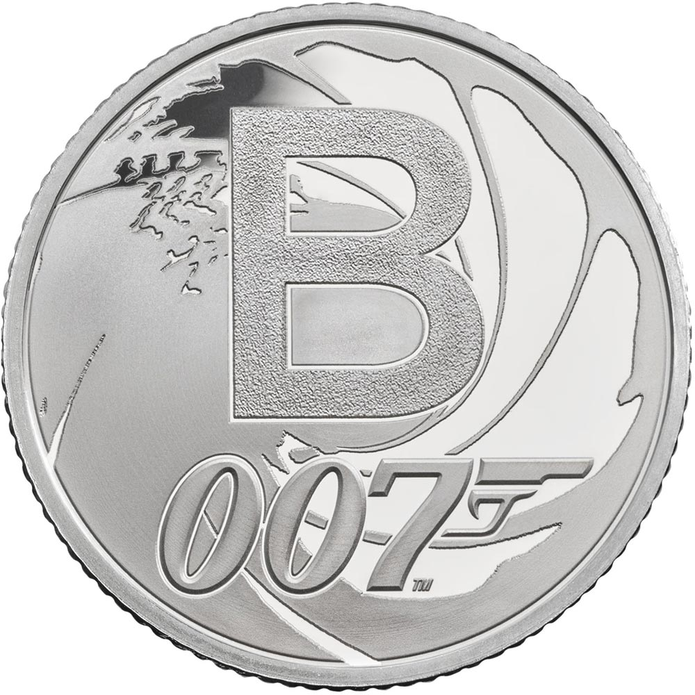 Image of 10 pences coin - B - Bond... James Bond | United Kingdom 2018.  The Silver coin is of Proof, UNC quality.