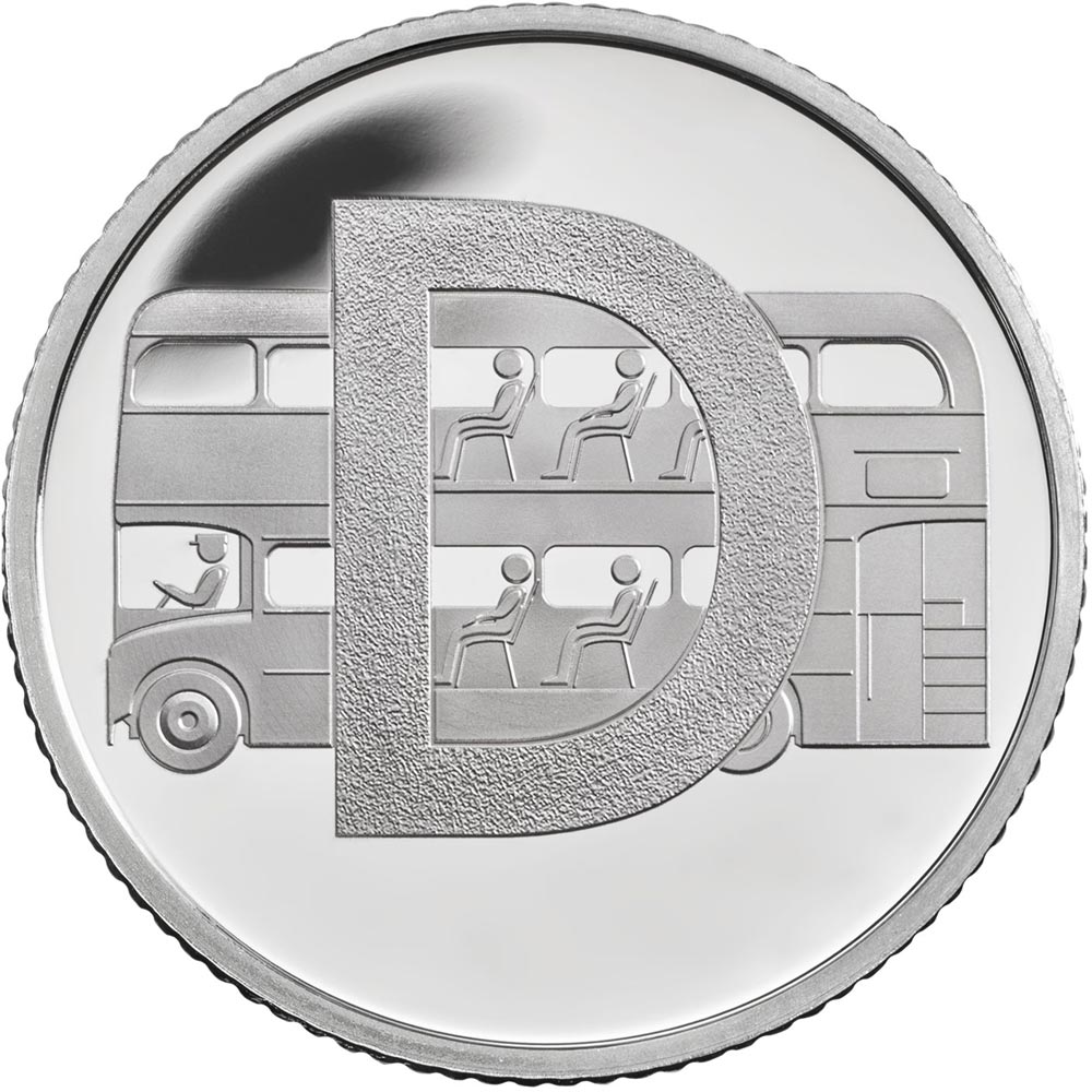 Image of 10 pences coin - D - Double Decker Bus | United Kingdom 2018.  The Silver coin is of Proof, UNC quality.