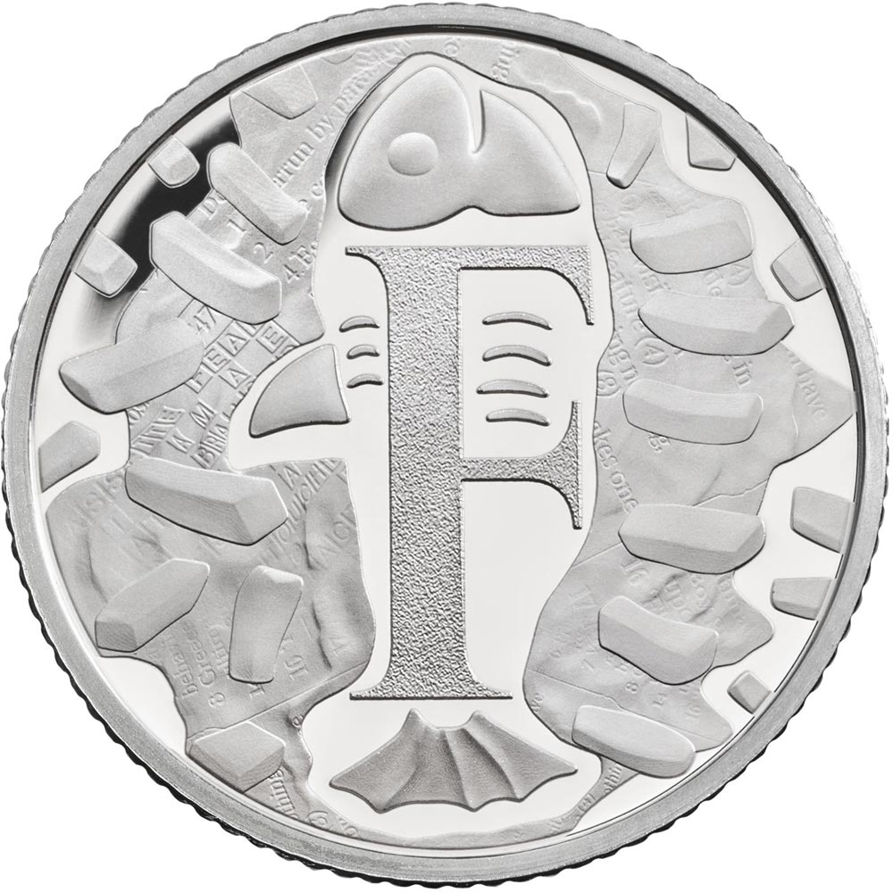 Image of 10 pences coin - F - Fish and Chips | United Kingdom 2018.  The Silver coin is of Proof, UNC quality.