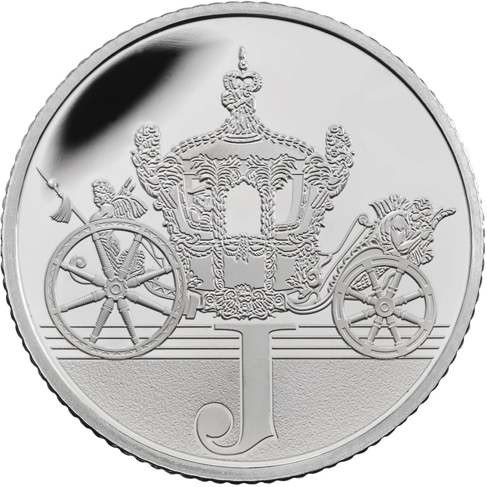 Image of 10 pences coin - J – Jubilee | United Kingdom 2018.  The Silver coin is of Proof, UNC quality.