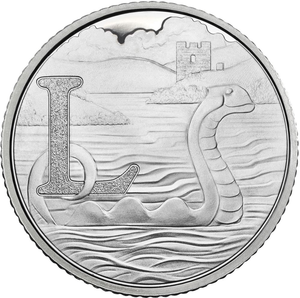 Image of 10 pences coin - L - Loch Ness | United Kingdom 2018.  The Silver coin is of Proof, UNC quality.