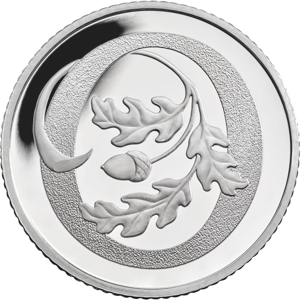 Image of 10 pences coin – O - Oak Tree  | United Kingdom 2018.  The Silver coin is of Proof, UNC quality.