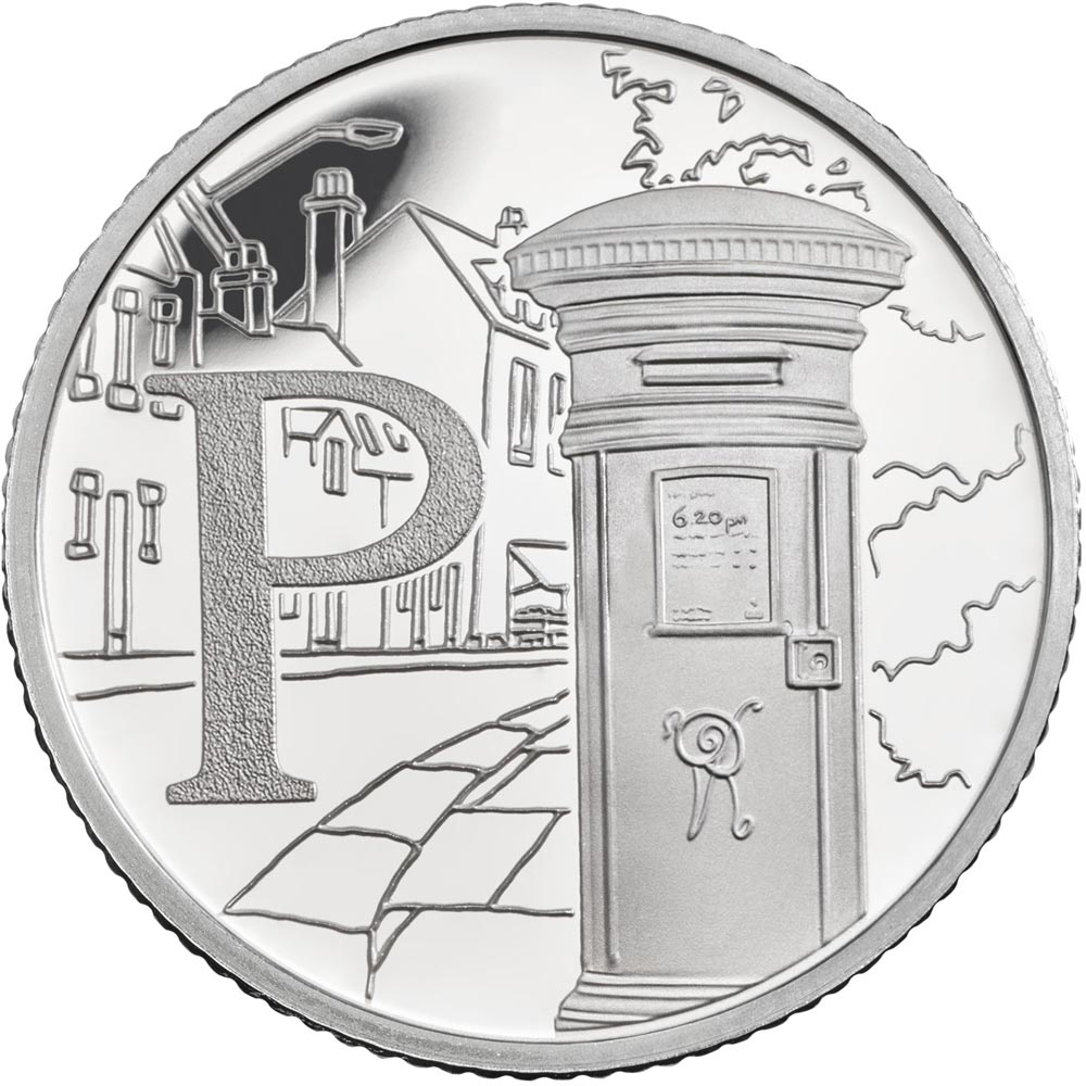 Image of 10 pences coin - P – Postbox | United Kingdom 2018.  The Silver coin is of Proof, UNC quality.