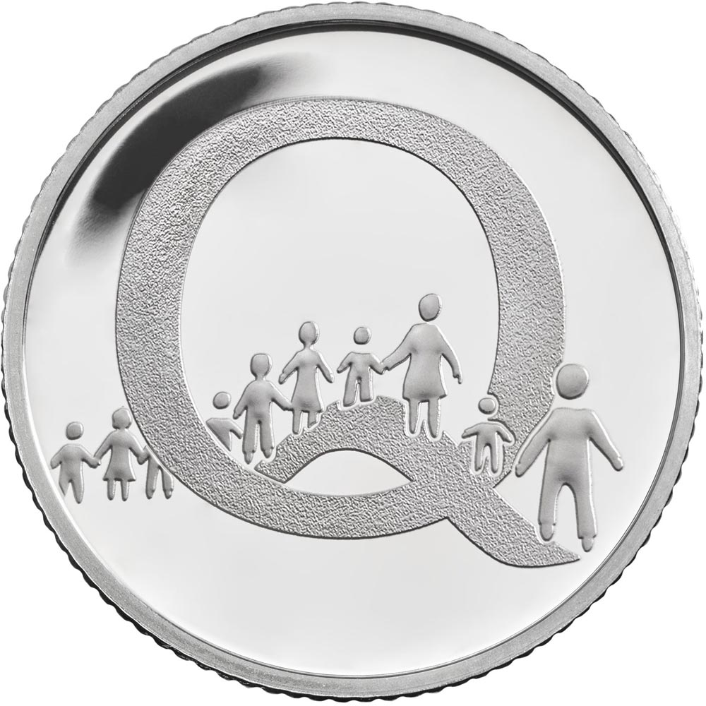 Image of 10 pences coin - Q – Queuing | United Kingdom 2018.  The Silver coin is of Proof, UNC quality.
