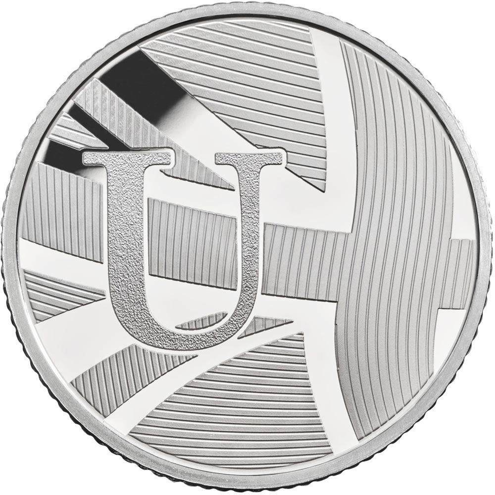 Image of 10 pences coin – U - Union Flag | United Kingdom 2018.  The Silver coin is of Proof, UNC quality.