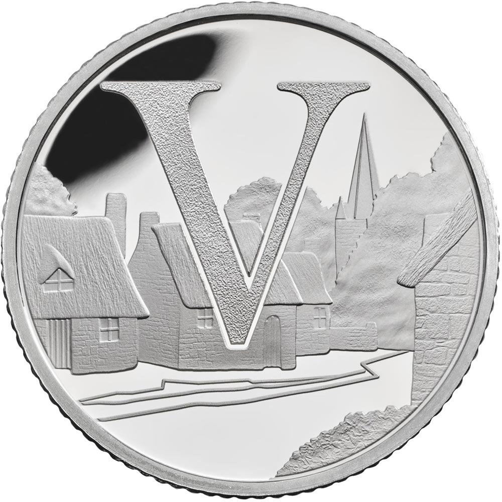 Image of 10 pences coin - V – Villages | United Kingdom 2018.  The Silver coin is of Proof, UNC quality.