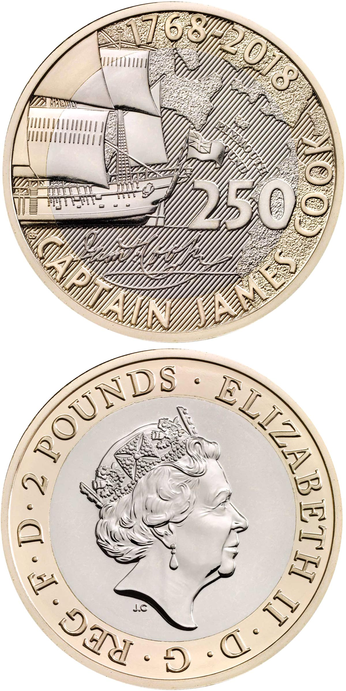 Image of 2 pounds coin - 250th Anniversary of Captain Cook's Voyage | United Kingdom 2018.  The Bimetal: CuNi, nordic gold coin is of Proof, BU quality.