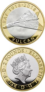 2 pound coin RAF Centenary Vulcan | United Kingdom 2018