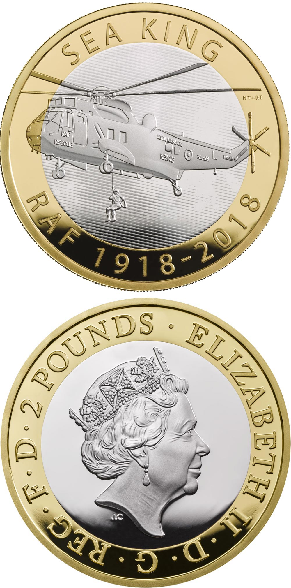 Image of 2 pounds coin – RAF Centenary Sea King | United Kingdom 2018.  The Bimetal: CuNi, nordic gold coin is of Proof, BU quality.
