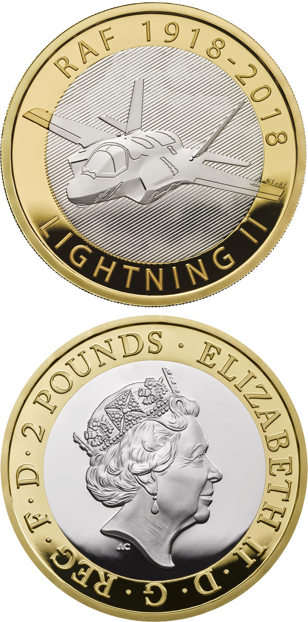 Image of 2 pounds coin – RAF Centenary Lightning II | United Kingdom 2018.  The Bimetal: CuNi, nordic gold coin is of Proof, BU quality.
