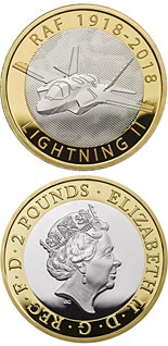 2 pound coin RAF Centenary Lightning II | United Kingdom 2018