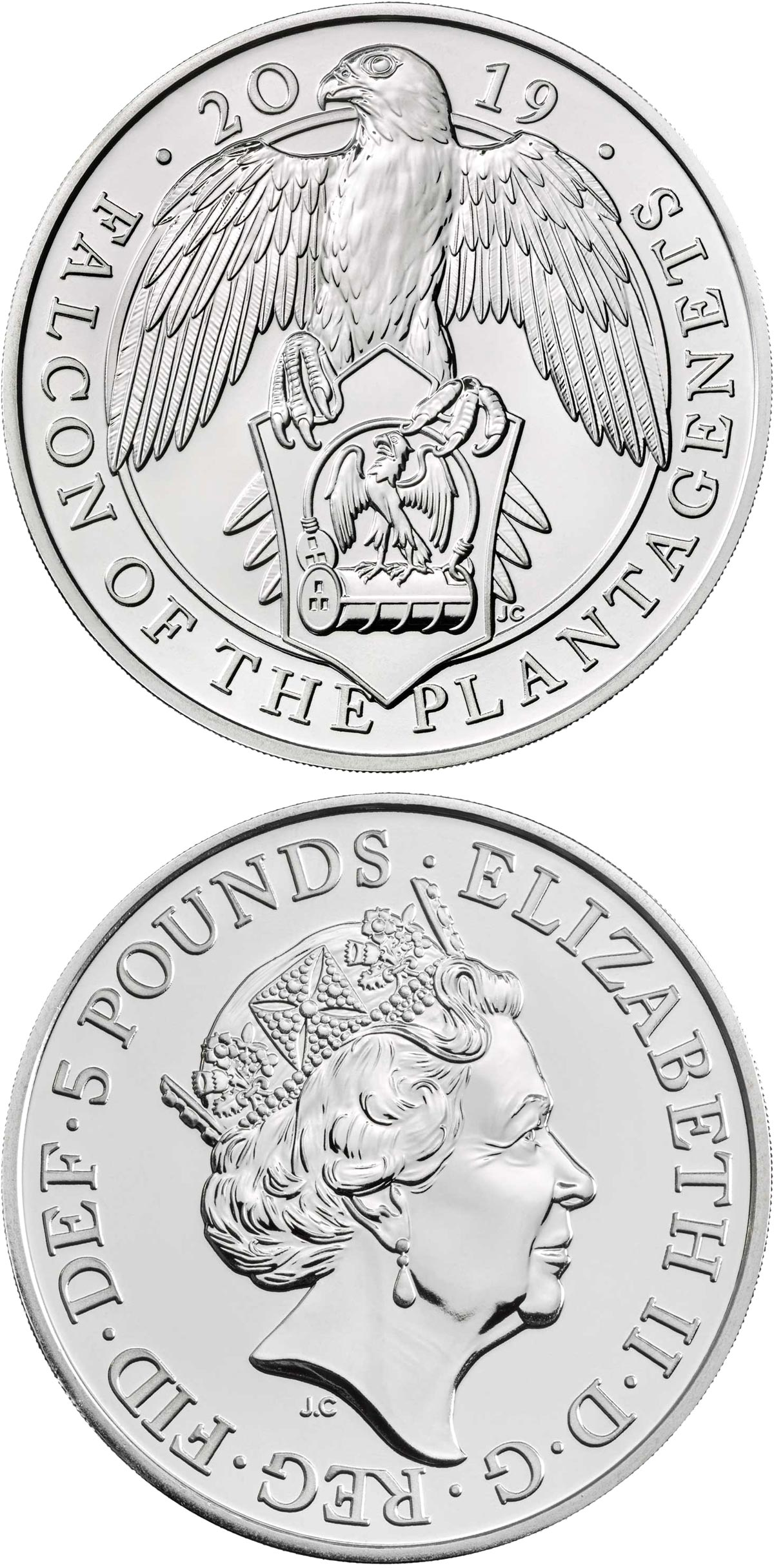 Image of 5 pounds coin – The Falcon of the Plantagenets | United Kingdom 2019.  The Copper–Nickel (CuNi) coin is of BU quality.