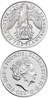 5 pound coin The Falcon of the Plantagenets | United Kingdom 2019