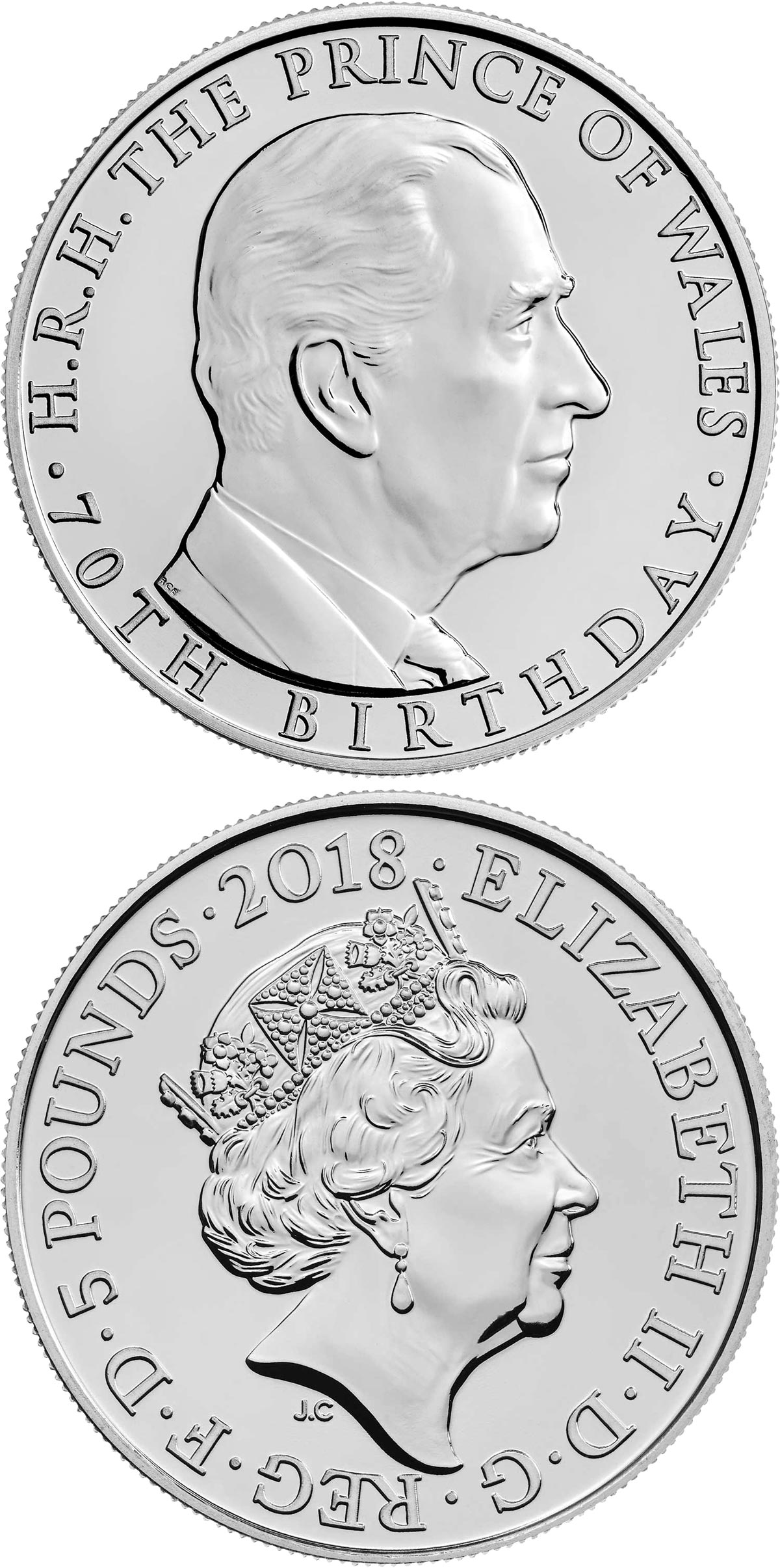 Image of 5 pounds coin - The 70th Birthday of the Prince of Wales | United Kingdom 2018.  The Copper–Nickel (CuNi) coin is of Proof, BU quality.