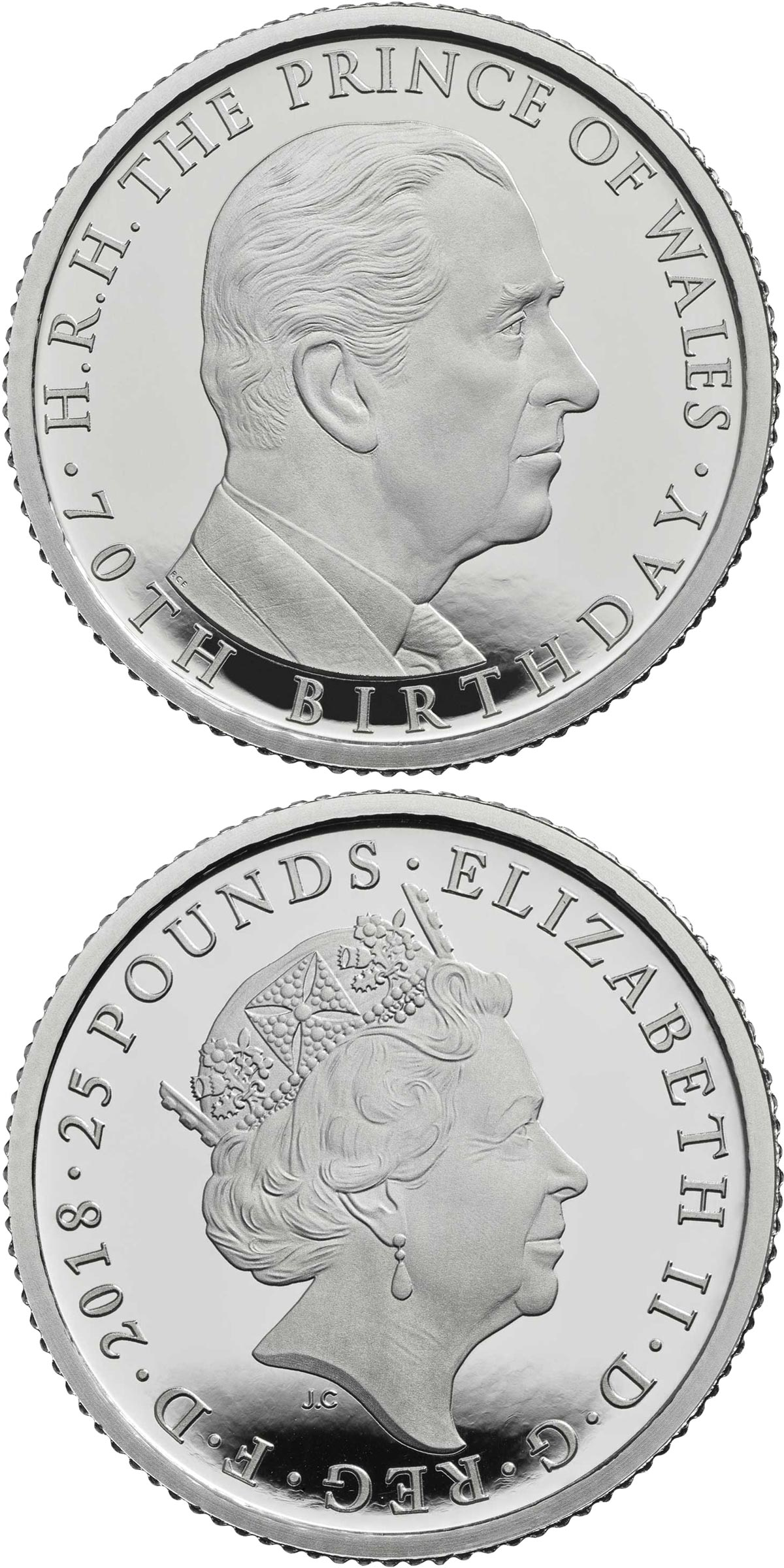 Image of 25 pounds coin - The 70th Birthday of the Prince of Wales | United Kingdom 2018.  The Platinum coin is of Proof quality.