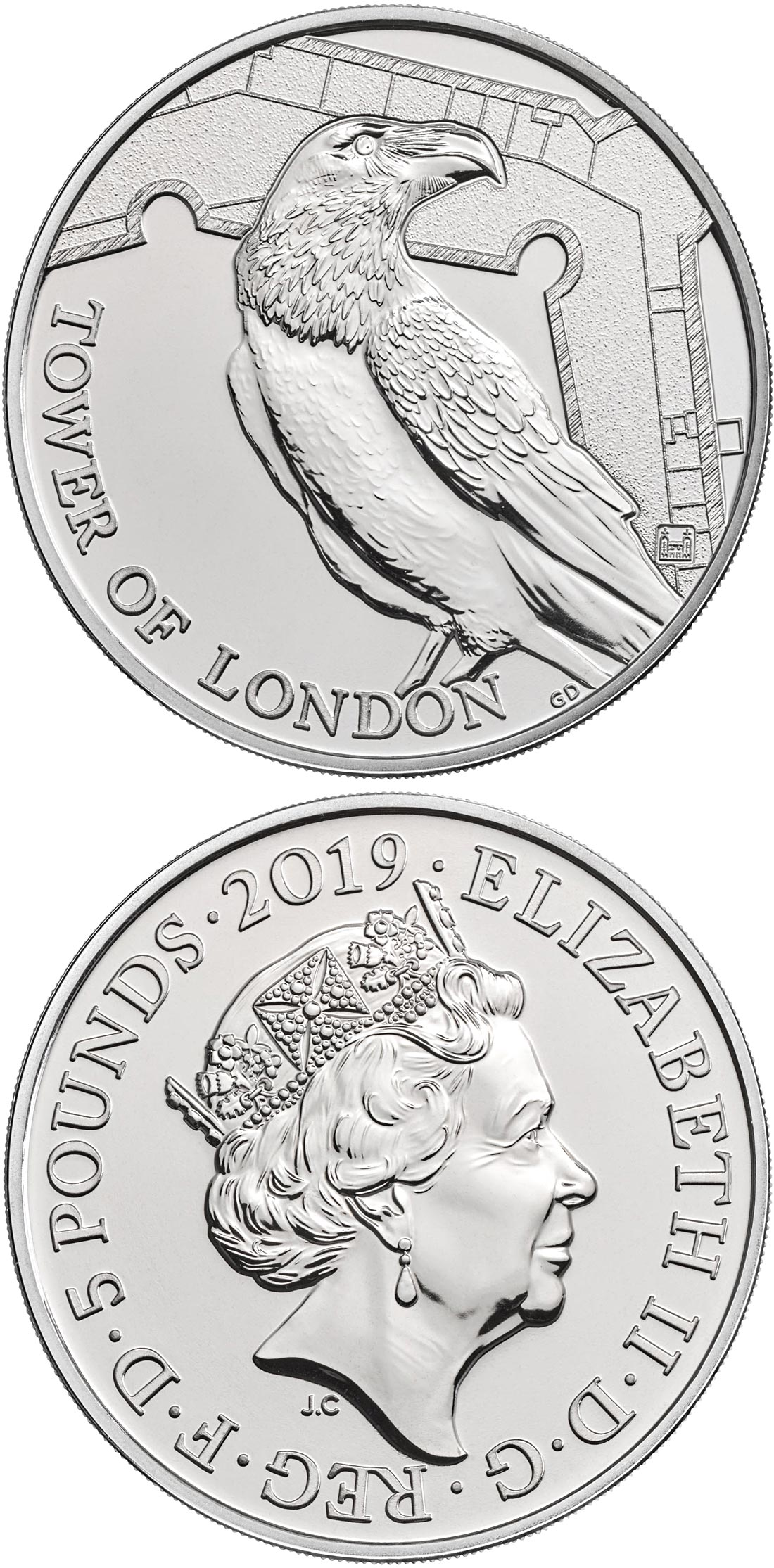 Image of 5 pounds coin – Legend of the Ravens | United Kingdom 2019.  The Copper–Nickel (CuNi) coin is of BU quality.