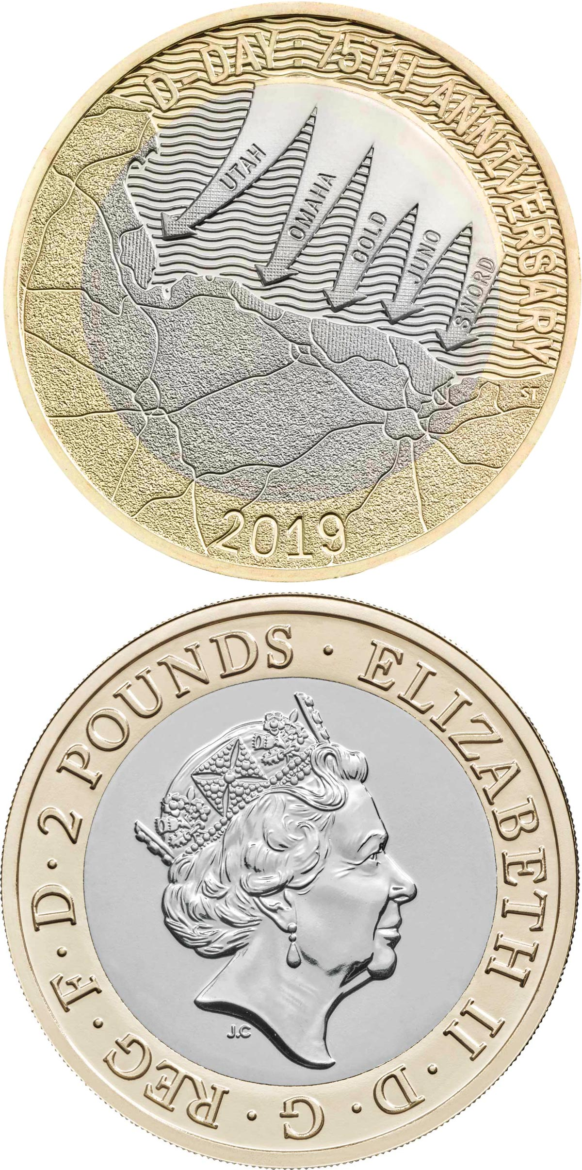 Image of 2 pounds coin - 75th anniversary of D-Day | United Kingdom 2019.  The Bimetal: CuNi, nordic gold coin is of Proof, BU quality.