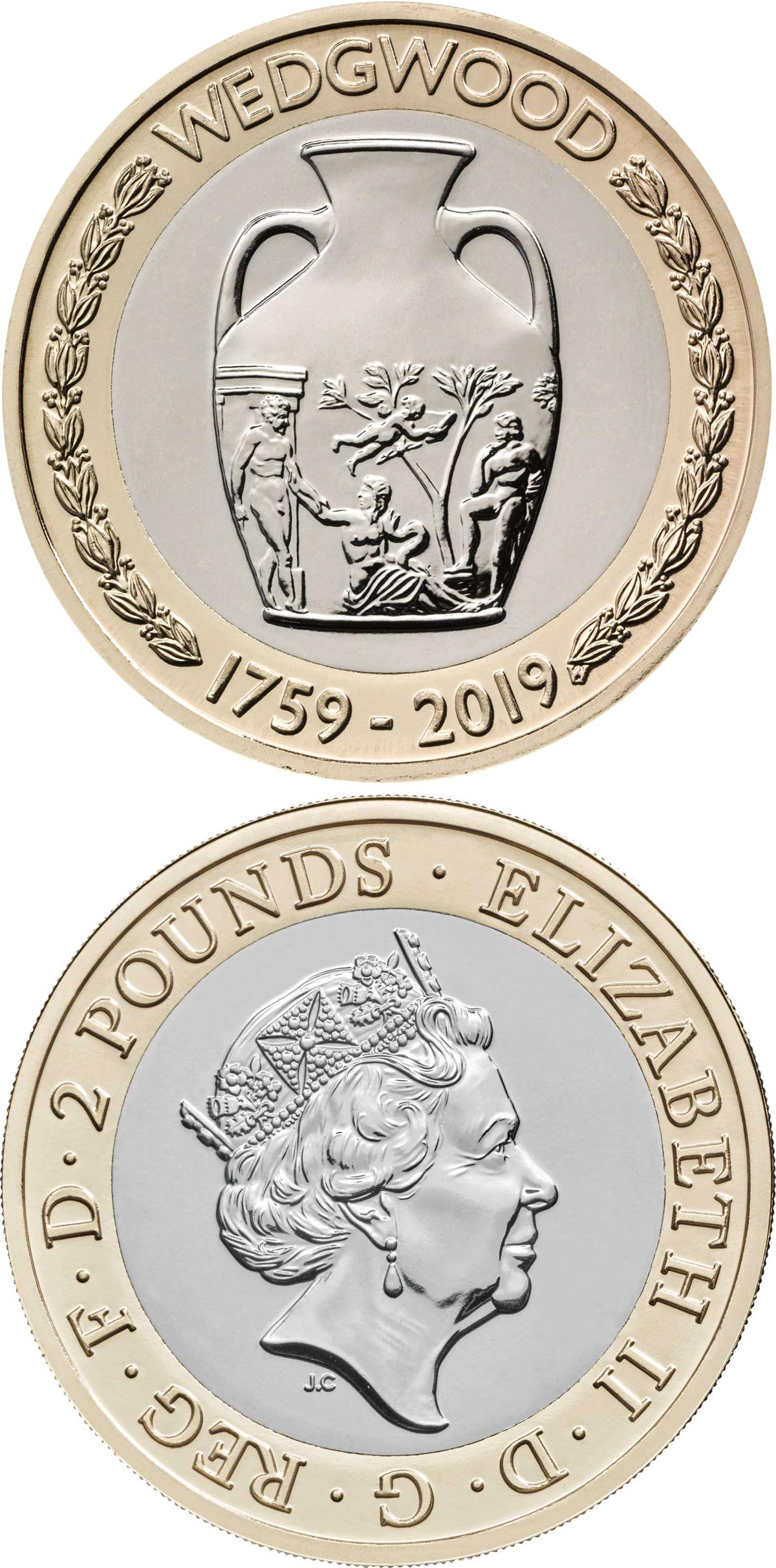 Image of 2 pounds coin - 260th anniversary of the foundation of Wedgwood | United Kingdom 2019.  The Bimetal: CuNi, nordic gold coin is of Proof, BU quality.
