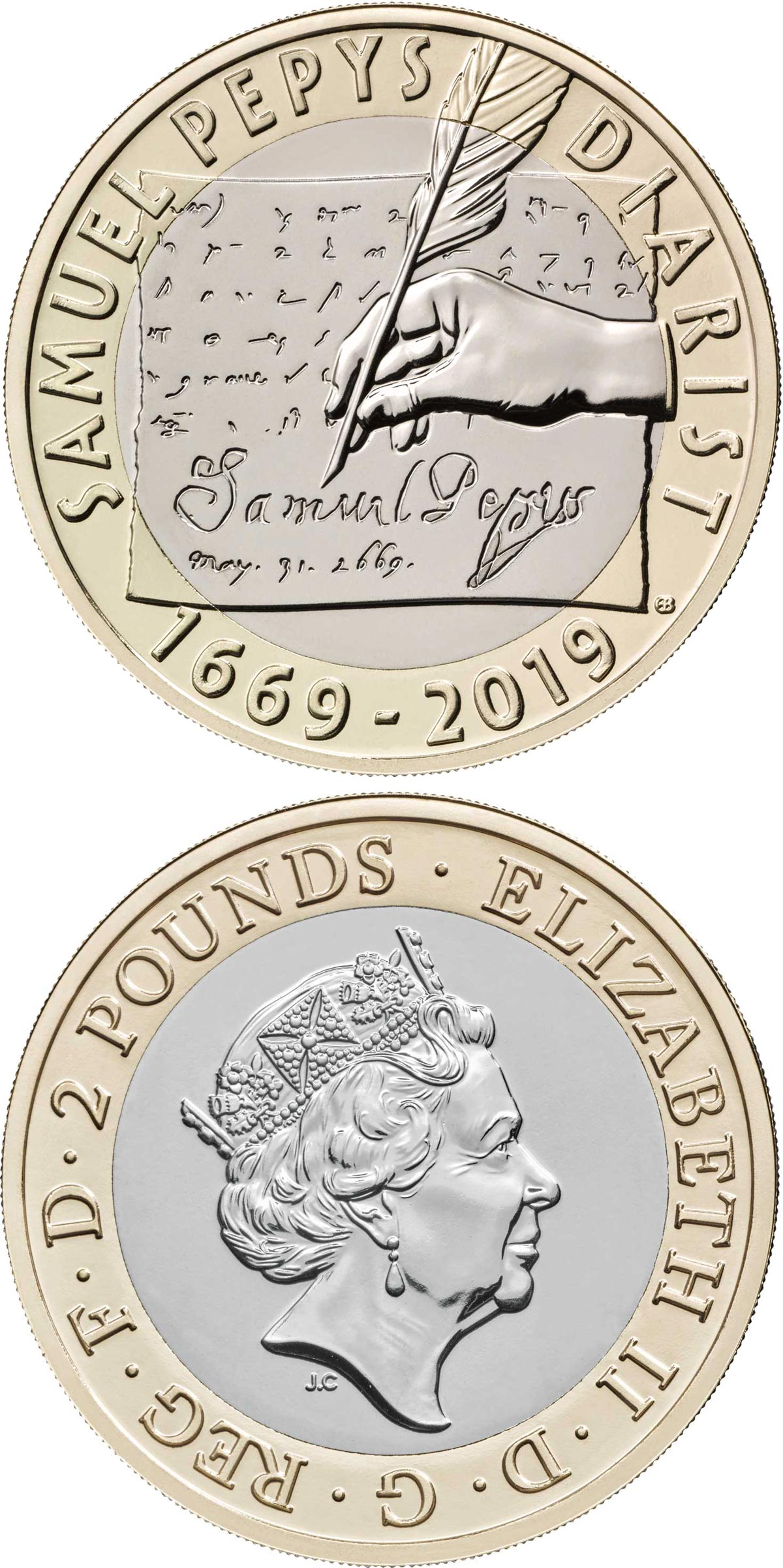 Image of 2 pounds coin - 350 years since the final entry of Samuel Pepys' famed diary | United Kingdom 2019.  The Bimetal: CuNi, nordic gold coin is of Proof, BU quality.