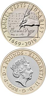 2 pound coin 350 years since the final entry of Samuel Pepys' famed diary | United Kingdom 2019