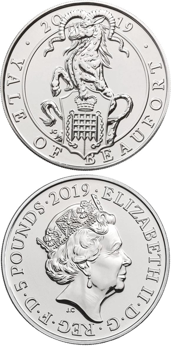 Image of 5 pounds coin - The Yale of Beaufort | United Kingdom 2019.  The Copper–Nickel (CuNi) coin is of BU quality.
