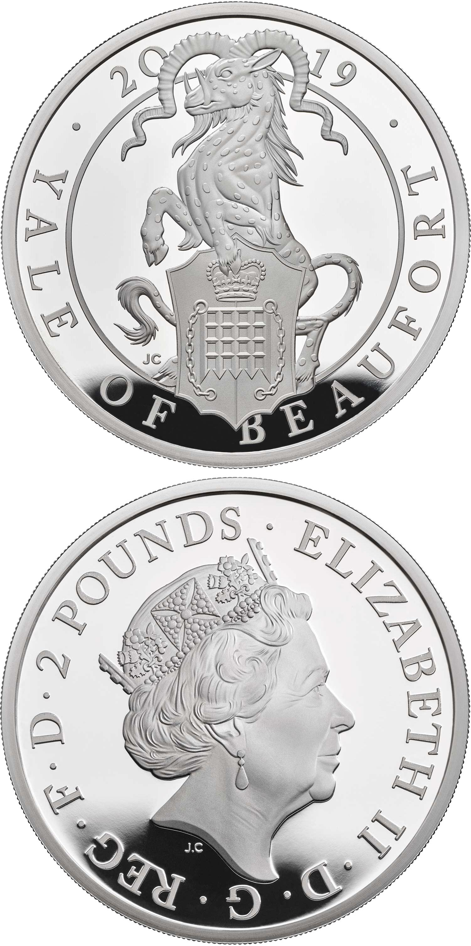 Image of 2 pounds coin - The Yale of Beaufort | United Kingdom 2019.  The Silver coin is of Proof quality.