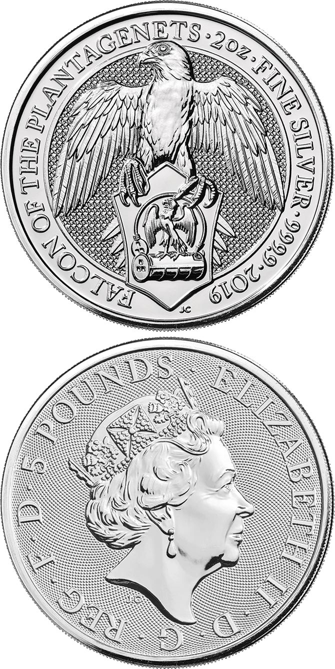 Image of 5 pounds coin - Falcon | United Kingdom 2020.  The Silver coin is of Proof quality.