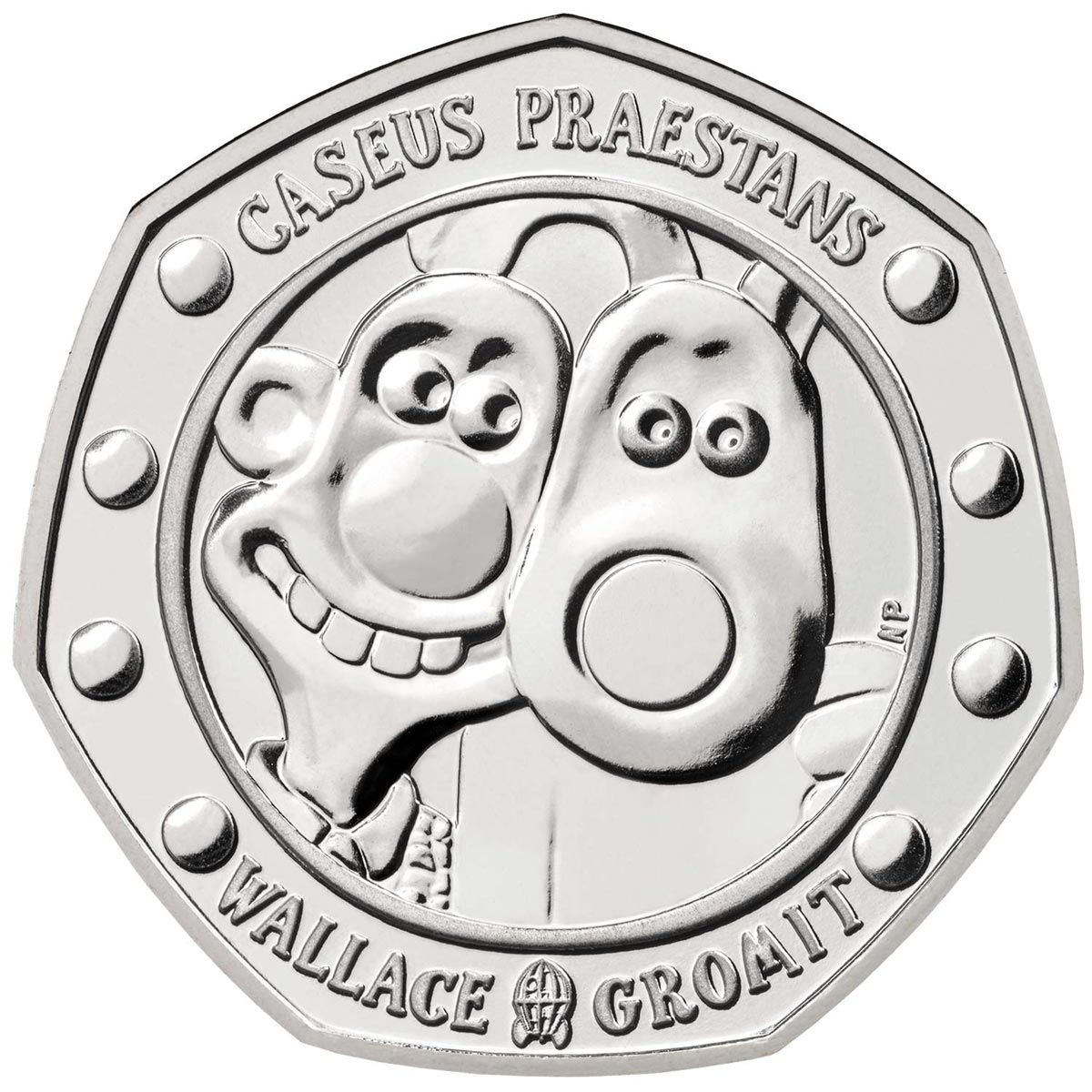 Image of 50 pence coin - 30 Years of Wallace and Gromit | United Kingdom 2019.  The Copper–Nickel (CuNi) coin is of Proof, BU quality.