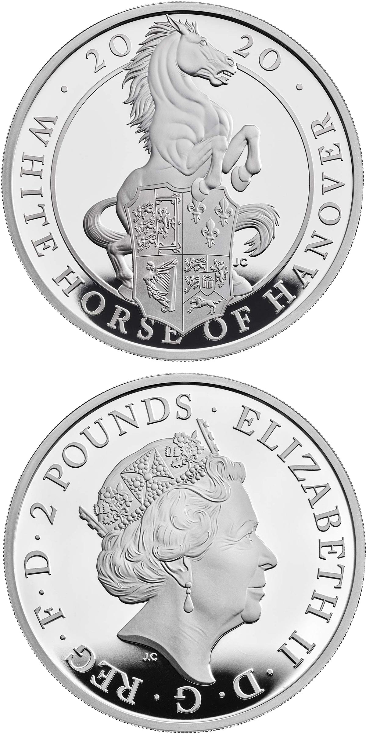 Image of 2 pounds coin - The White Horse of Hanover  | United Kingdom 2020.  The Silver coin is of Proof quality.