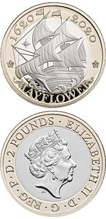 2 pound coin 400 Years Since the Voyage of the Mayflower | United Kingdom 2020