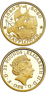 25 pound coin 400 Years Since the Voyage of the Mayflower | United Kingdom 2020