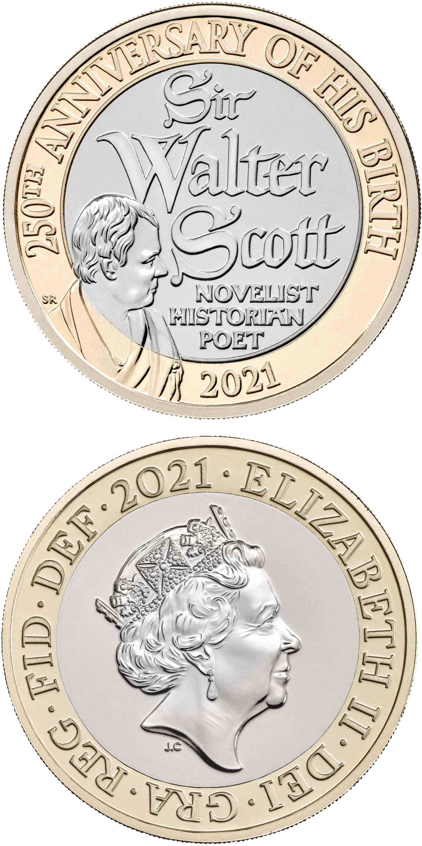 Image of 2 pounds coin - Sir Walter Scott | United Kingdom 2021.  The Bimetal: CuNi, nordic gold coin is of Proof, BU, UNC quality.