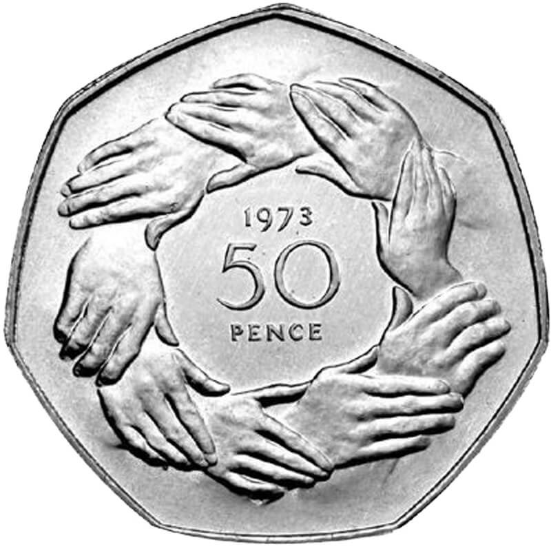 Image of 50 pence coin - United Kingdom'saccession to the European Economic Community | United Kingdom 1973.  The Copper–Nickel (CuNi) coin is of UNC quality.