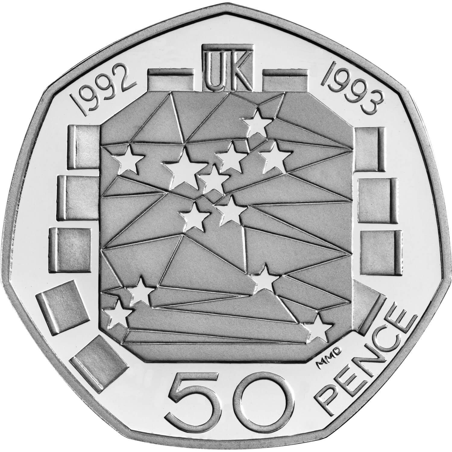 Image of 50 pence coin - United Kingdom's Presidency of the Council of Ministers and the completion of the Single European Market | United Kingdom 1992.  The Copper–Nickel (CuNi) coin is of UNC quality.