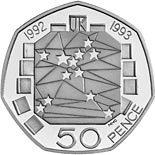50 pence coin United Kingdom's Presidency of the Council of Ministers and the completion of the Single European Market | United Kingdom 1992
