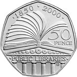 50 pence coin 150th Anniversary of the Public Libraries Act | United Kingdom 2000