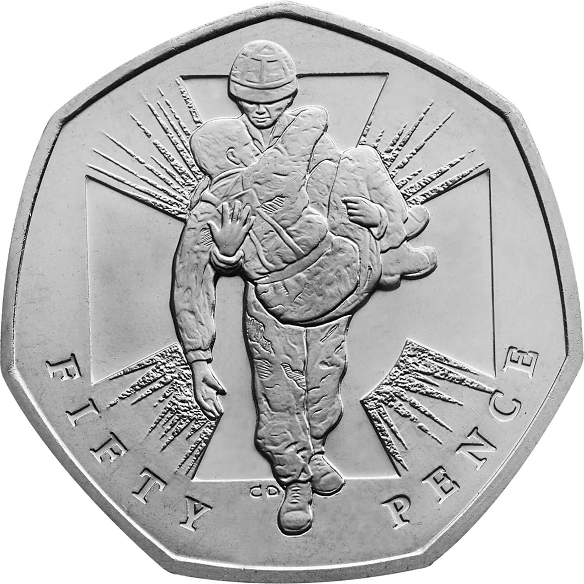 Image of 50 pence coin – 150th Anniversary of the institution of the Victoria Cross | United Kingdom 2006.  The Copper–Nickel (CuNi) coin is of UNC quality.