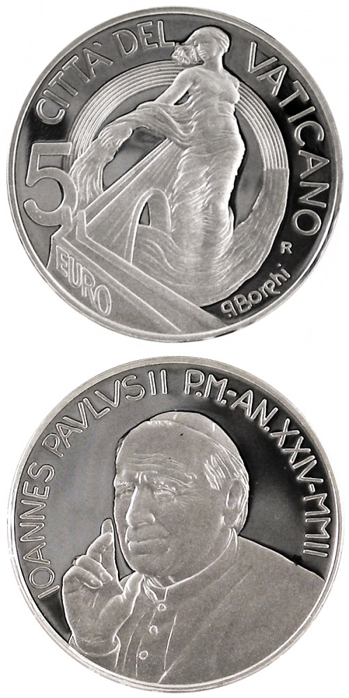 Image of 5 euro coin – Europe, a Project of Peace and Unity  | Vatican City 2002.  The Silver coin is of Proof quality.