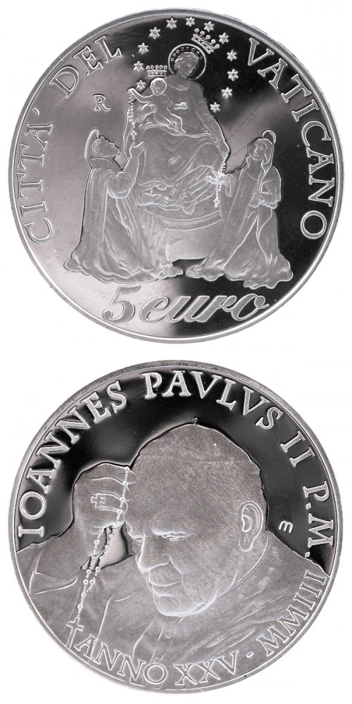 Image of 5 euro coin – Year of the Rosary  | Vatican City 2003.  The Silver coin is of Proof quality.
