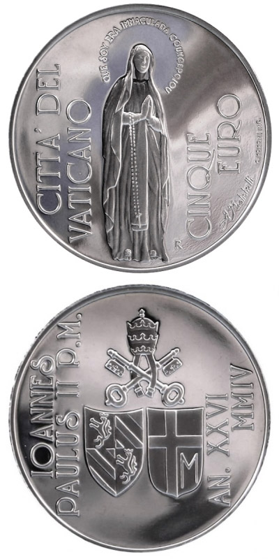 Image of 5 euro coin – 150th Anniv. of the Proclamation of the  Dogma of the Immaculate Conception | Vatican City 2004.  The Silver coin is of Proof quality.