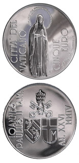 5 euro coin 150th Anniv. of the Proclamation of the  Dogma of the Immaculate Conception | Vatican City 2004